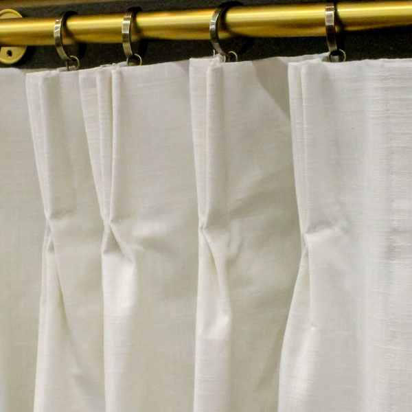 7 Day Pleated and Lined Custom Drapes in Slub Canvas White