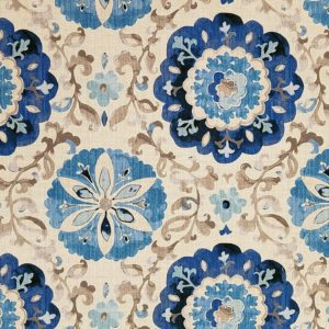 Romantical Sapphire Blue Floral Drapery Fabric by Waverly